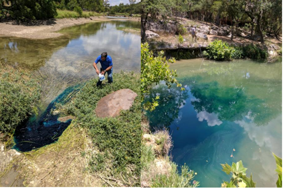 Aqua Texas staff poured dye into feature upstream of dam. The dye emerged 30 seconds later downstream of dam.