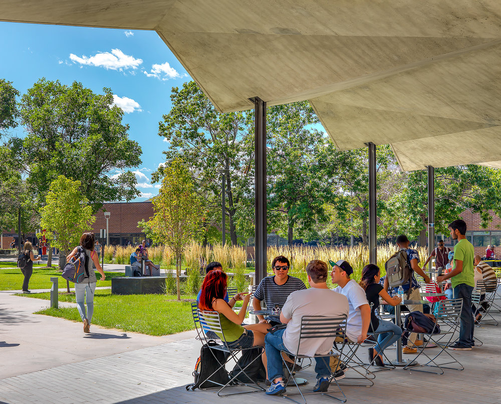 "<img src="" studioINSITE_Community_College_Denver_Student_Success_Seating_Plaza "" alt=""Denver, Community College of Denver, AHEC,   Landscape Architecture, Campus Design, Campus Master Plan, Science Building, Student Union, Atheltic Facility, Urban Campus, Pedestrian Mall, Urban Design  "" title=""Community College of Denver (AHEC)""/>"