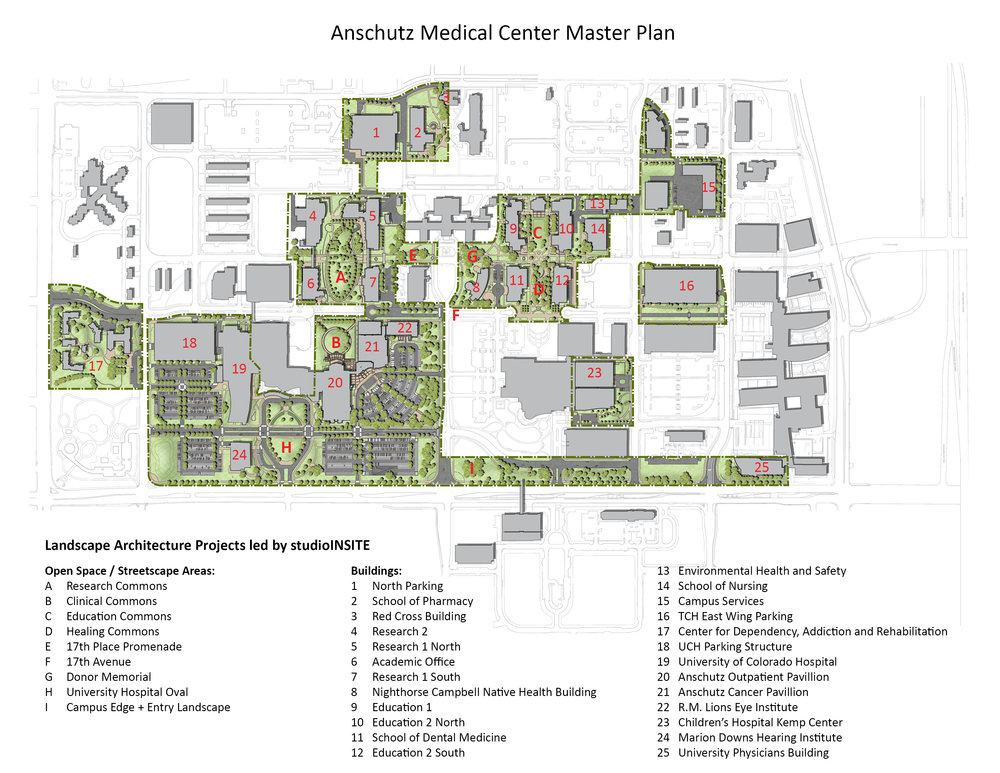 "<img src=""studioINSITE_Anschutz_Medical_Campus_Master_Plan"" alt=""Campus Master Plan, Design Guidelines, Site Design, Landscape Architecture, Construction Administration, Sustainable Open Space, Campus Framework Plan, Campus Quandrangle, medical Campus, Research Campus"" title=""CU Anschutz Medical Center""/>"