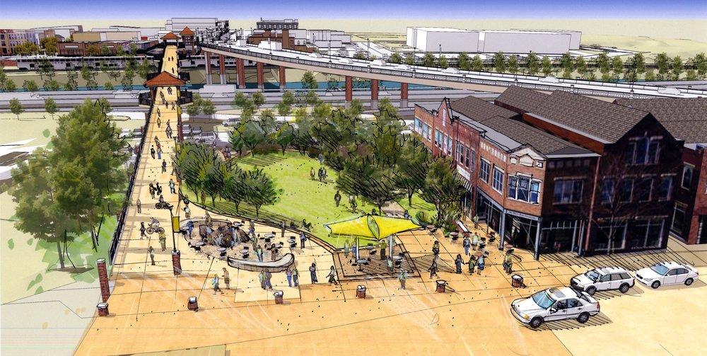 """<img src="""" studioINSITE_Glendwood_Springs_6th_St_Park """"alt=""""Park, Bridge Replacement, Pedestrian activation, Pedestrian Bridge, Streetscape, Playground, Art Walk, Community Engagement, Landscape Architecture  """" title="""" Glendwood Springs 6th St Park """"/>"""