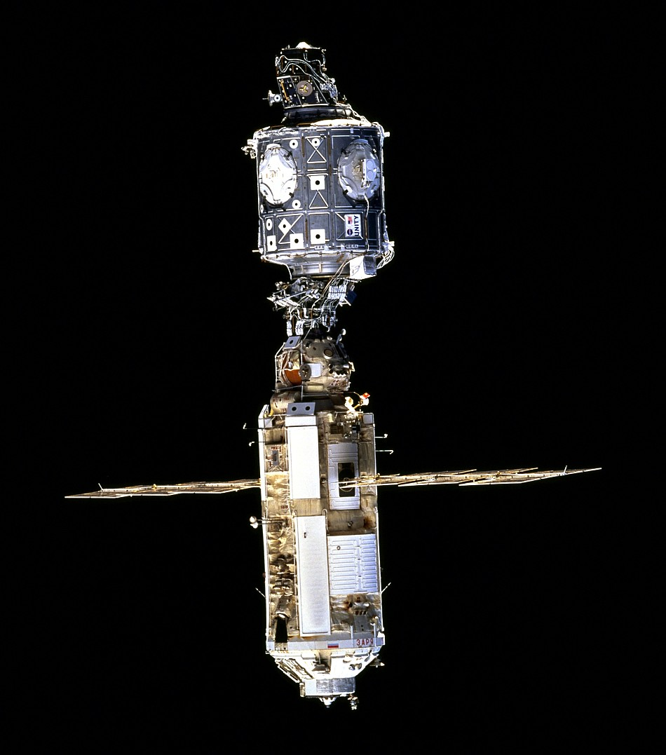 The first Russian module (below) was called Zarya, which means 'sunrise.' It was mated to the first American module, Unity, in December 1998. Photo credit: NASA.