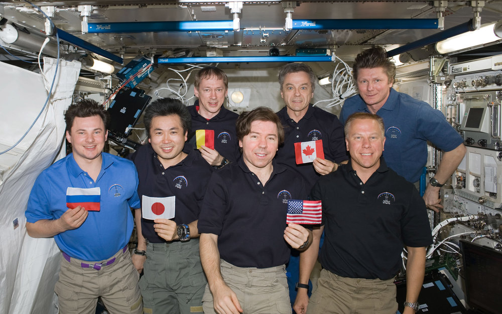During Expedition 20, all five  ISS  partner agencies were represented together on board the Station for the first time. Pictured here, from left to right, is Russian Federal Space Agency Cosmonaut   Roman Romanenko  ; Japanese astronaut   Koichi Wakata  ; European astronaut Frank De Winne;  NASA  astronaut Michael Barratt; Canadian Space Agency ( CSA ) Astronaut Bob Thirsk;  NASA  astronaut Tim Kopra, and cosmonaut Gennady Padalka. Photo:  NASA