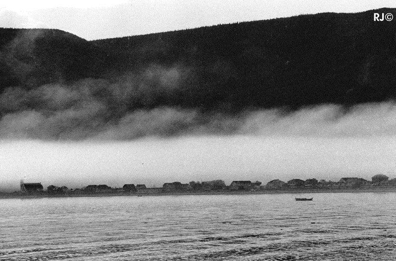Fog over village - Gaspé, 1954