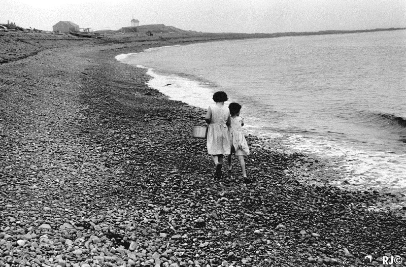 Two girls on beach - Gaspé, 1954
