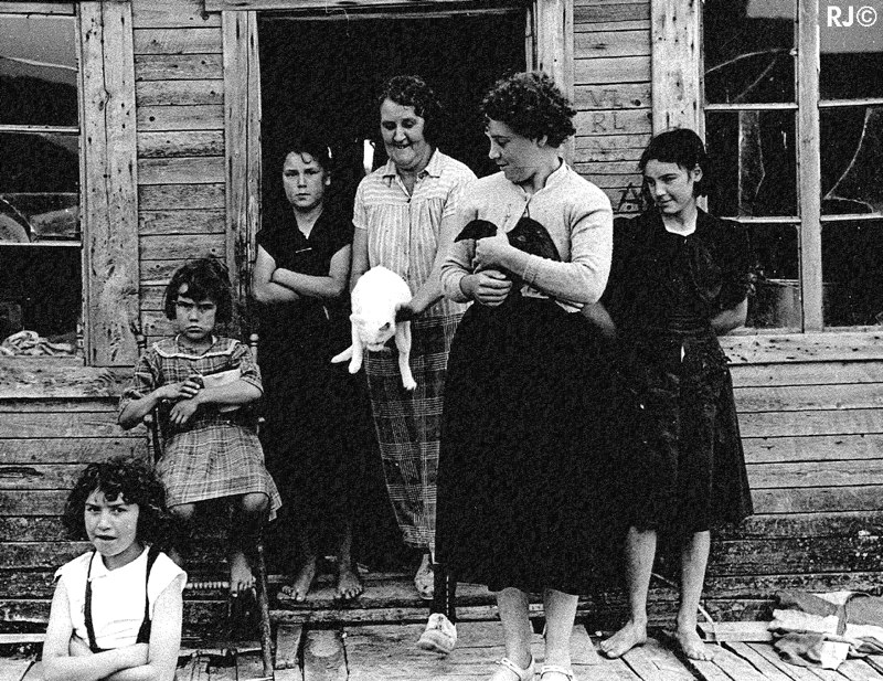 Women, girls and pets - Gaspé, 1954