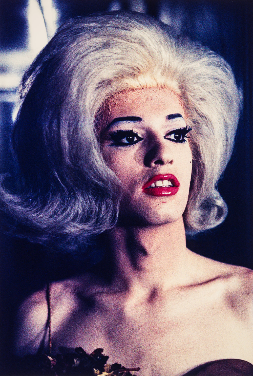 Performer with platinum hair and red lips, Jewel Box Revue, 1962
