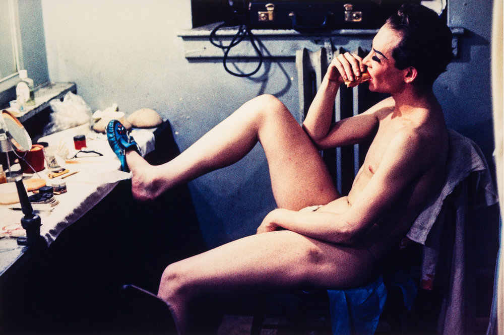 Naked performer with foot on dressing table, Jewel Box Revue, 1962