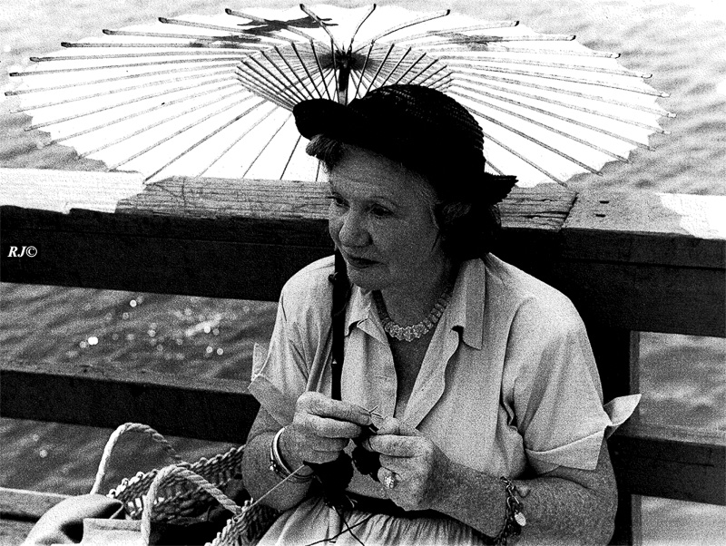 Woman with umbrella, Coney Island, 1953