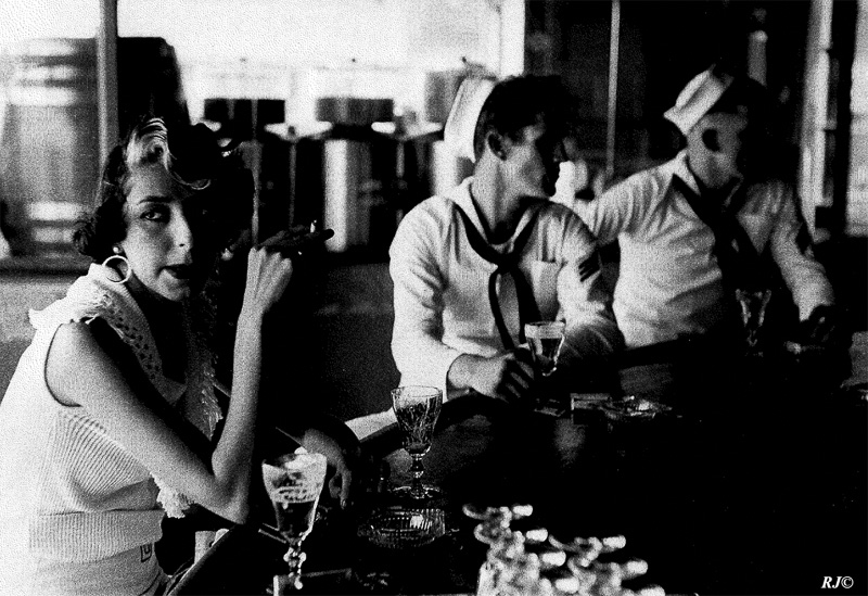 Smoker with sailors, Coney Island, 1953