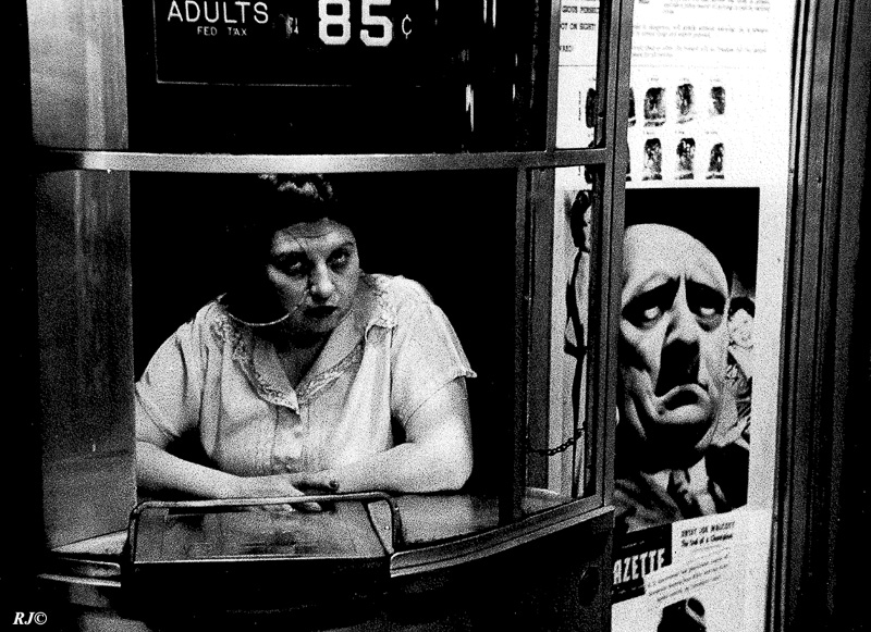 Movie theater/Hitler poster, Upper Broadway, 1952