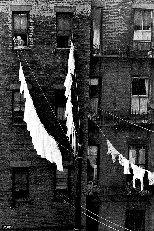 Clothes lines between buildings, Manhattan, 1954