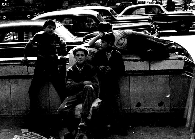 Four boys, Lower East Side, 1956