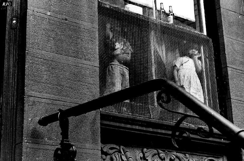 Two kids/mesh window, Upper West Side, 1954