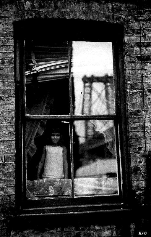 Girl in window with bridge reflection, Manhattan 1953