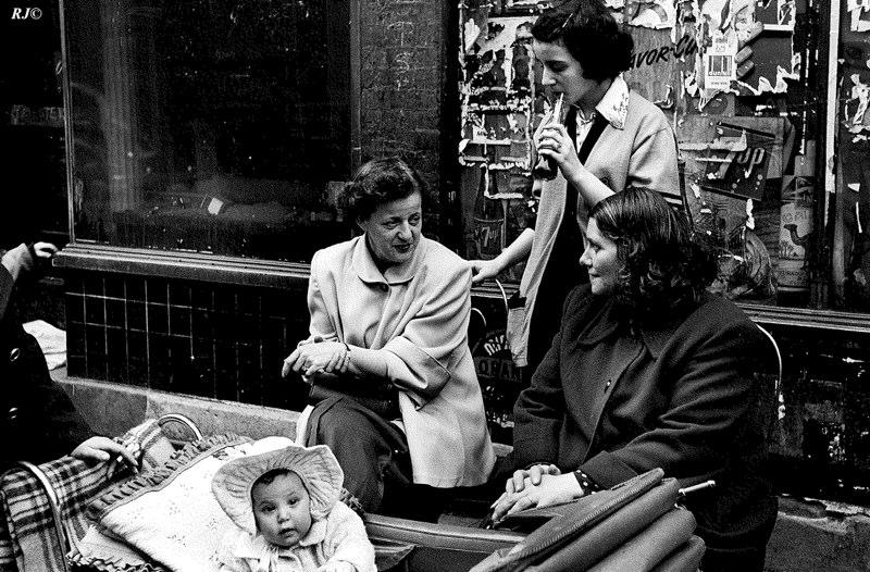 3 women with baby, Manhattan, 1953