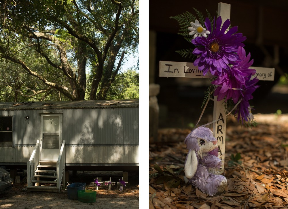 LEFT: A memorial to Betty Mungin, 55; Alexis Mungin, 29 and her unborn twins; and her daughter Armani Mungin, 8 outside the trailer in Ravenel Mobile Home Park, where they were shot and killed in May 2016. Kenneth Lamar Ancrum, 23, faces 5 murder charges in their shooting deaths. RIGHT: A detail of Armani's cross.