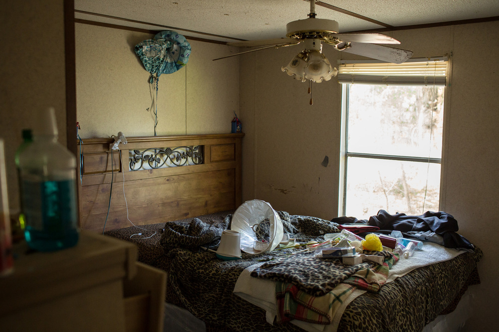 A bedroom inside the trailer where Betty Mungin, 55; Alexis Mungin, 29 and her unborn twins; and Armani Mungin, 8 were shot and killed in May 2016.