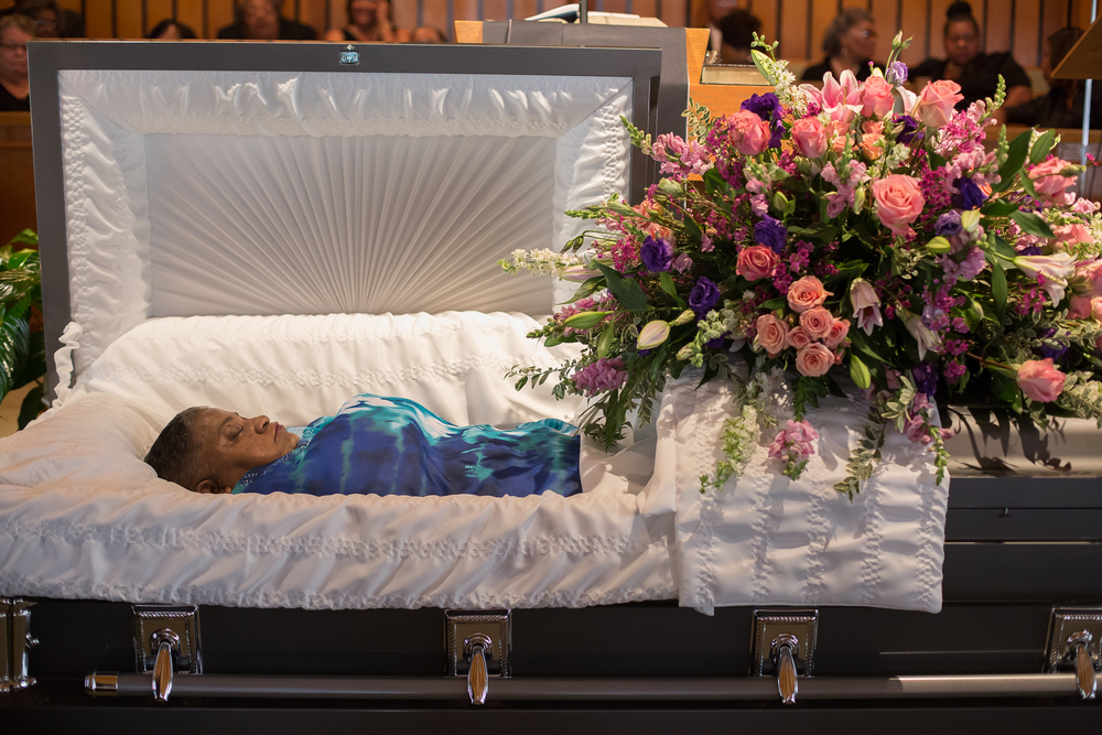 Gloria Streeter's funeral, August 2014. Gloria died after complications from a stroke. Her son, Maurice, was killed in April 2013. Her family says she never got over her son's death, and a broken heart contributed to her demise.