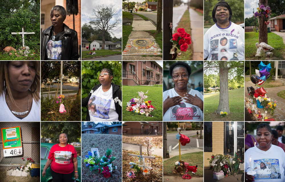 Mothers of murder victims and memorials to the slain in Durham.