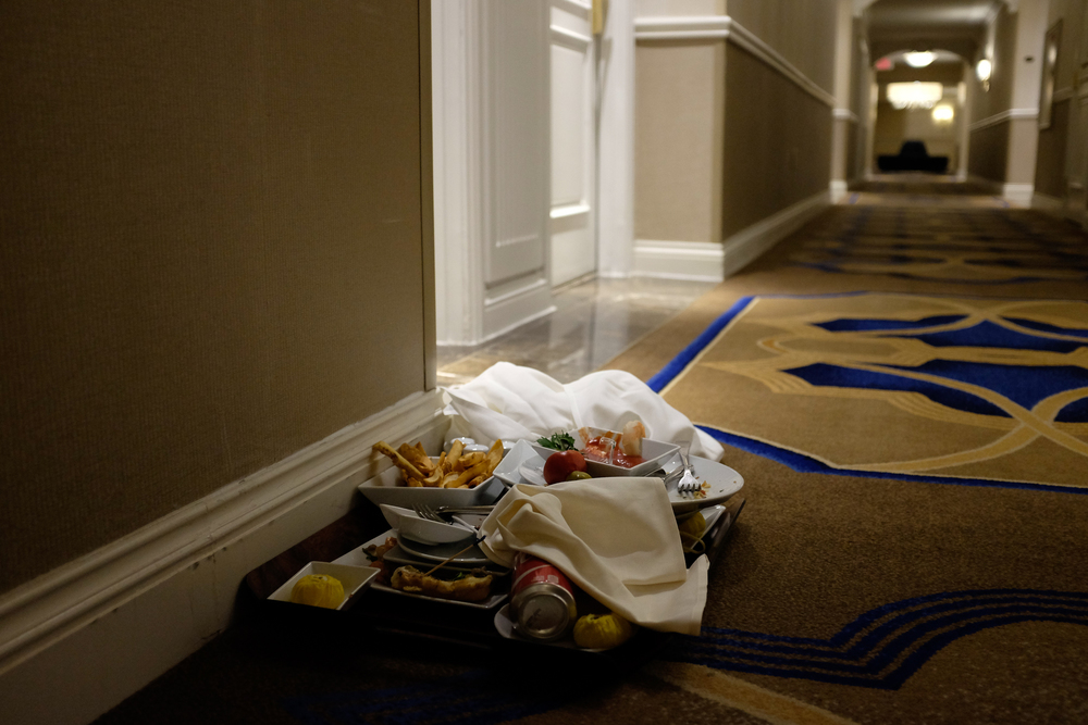Half-eaten room service at the Venetian Resort Hotel and Casino. Las Vegas.