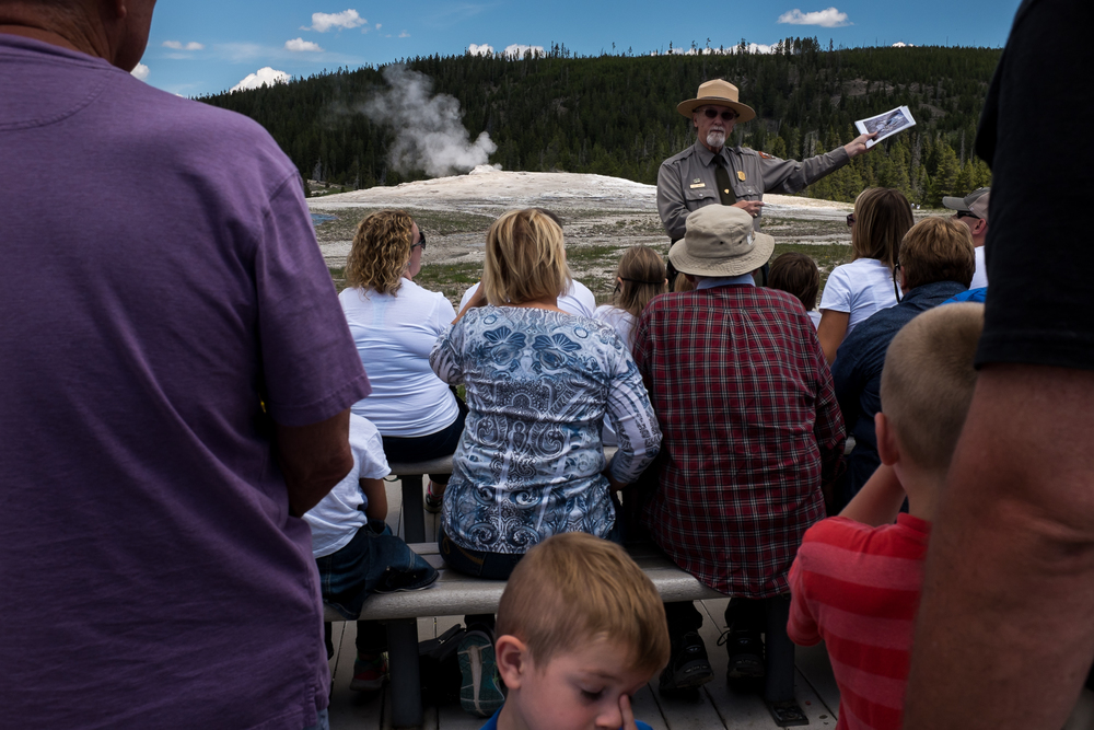 Waiting for Old Faithful. Yellowstone National Park.