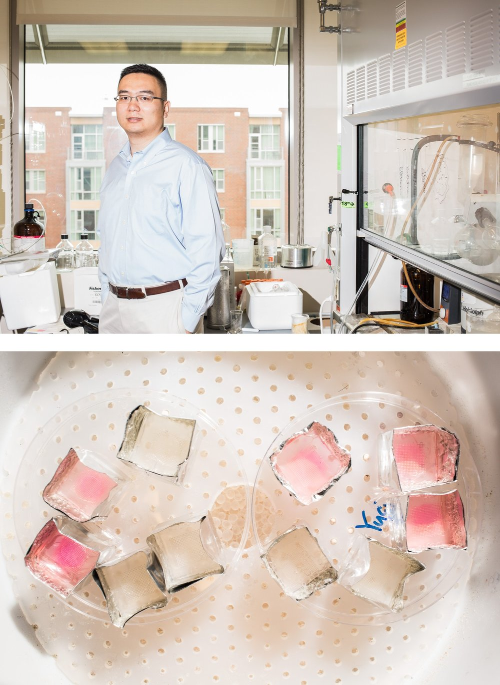 Dr. Zhen Gu, a medical researcher best known for his smart insulin patch, for STAT Magazine.