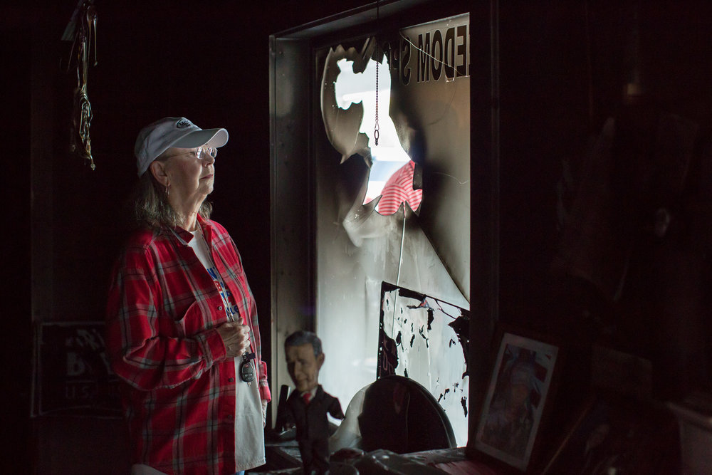 Evelyn Poole-Kober, volunteer for the Orange County North Carolina Republican Party, in their firebombed campaign office in Hillsborough, N.C. for The New York Times.