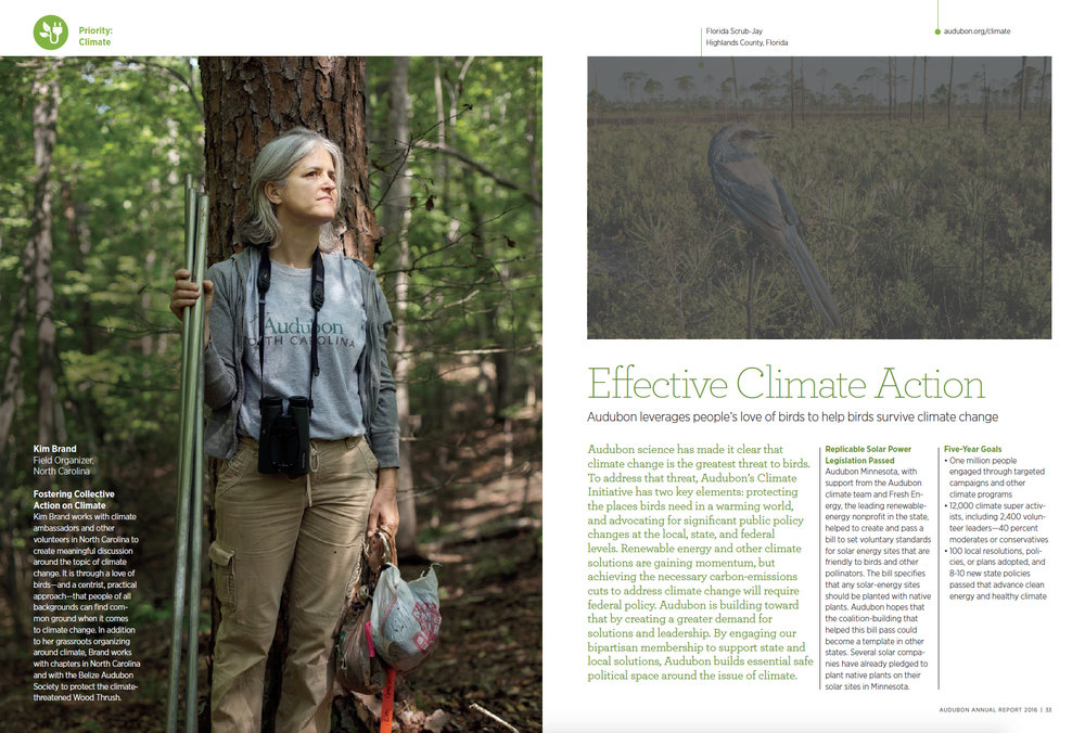 Inside spread of the 2016 Audubon Annual Report.