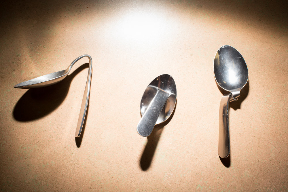 Spoons allegedly bent by the mind. Durham, N.C.