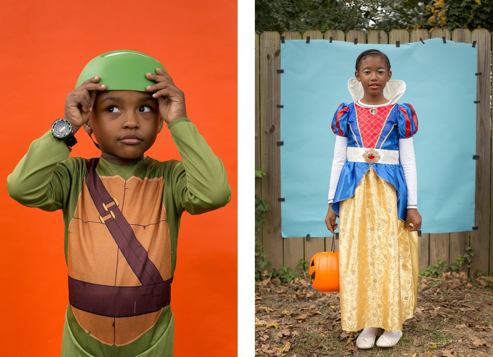 Elijah Helms, 4, dressed as Teenage Mutant Ninja Turtle Leonardo, and Z'Dayvia Holloway, 7, dressed as Snow White, posed for portraits in Southside Durham.