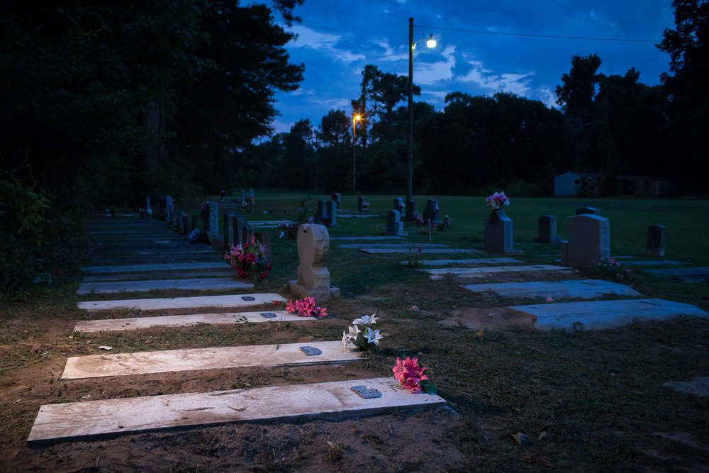Mass shooting victims' graves. Ravenel, S.C.