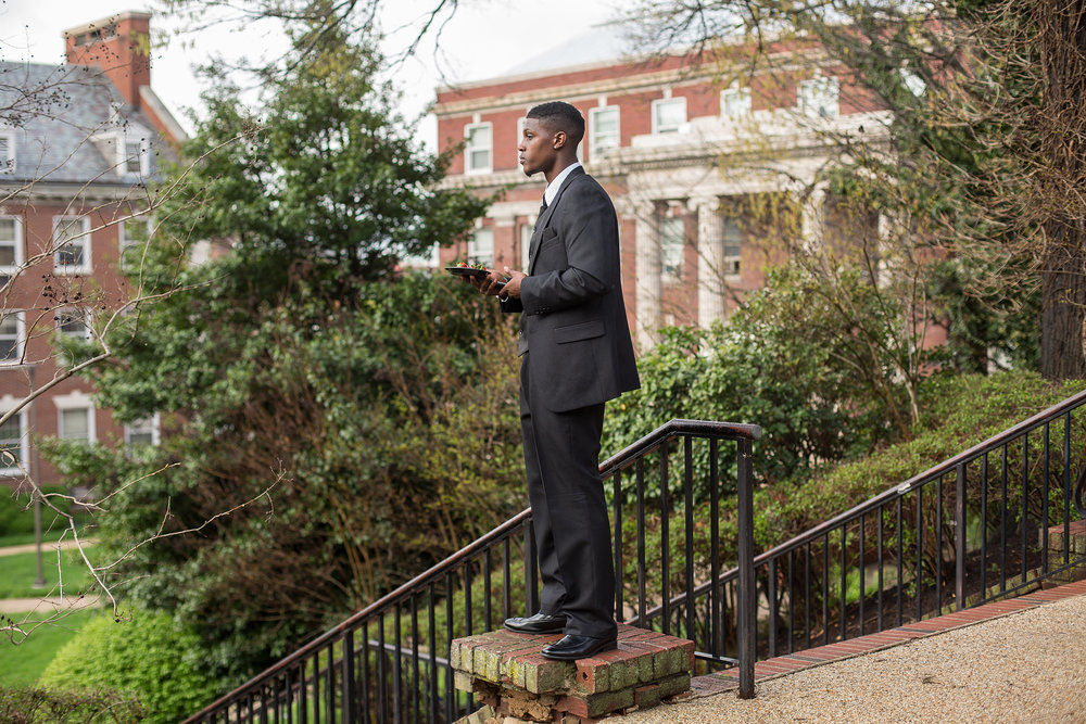 Rashard looks across a quad at Howard University in Washington, D.C. after speaking about his incarceration experience. He dreams of being a motivational speaker, and in 2015 was making steps towards that dream.