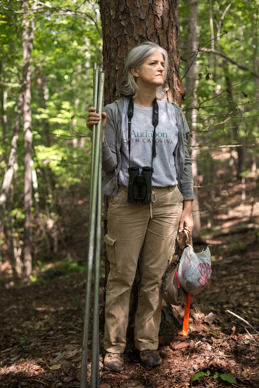 NC Audubon Bird-Friendly Communities Coordinator Kim Brand stops for a portrait.