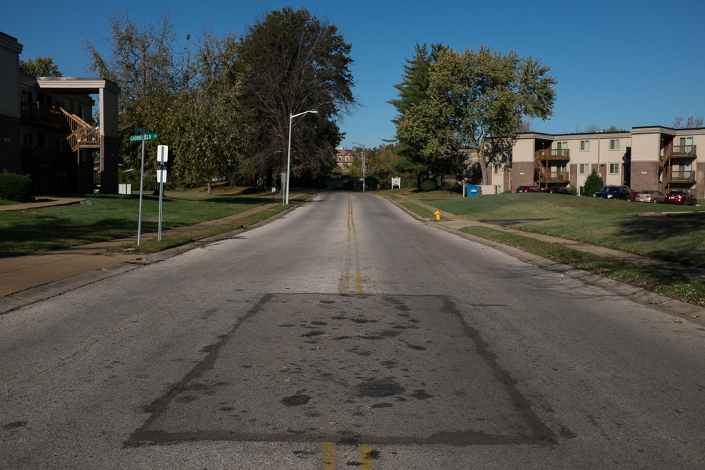 Canfield Drive, Ferguson Missouri, where Michael Brown was shot to death.