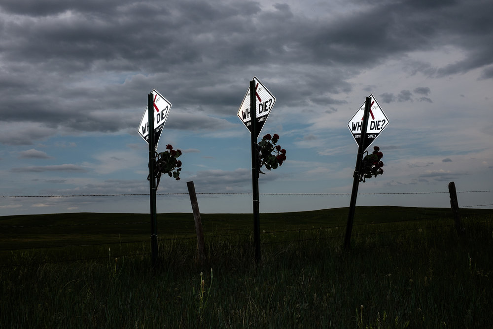 Traffic fatality markers dot the roadsides all across South Dakota. A cluster of markers represents multiple fatalities in one incident.