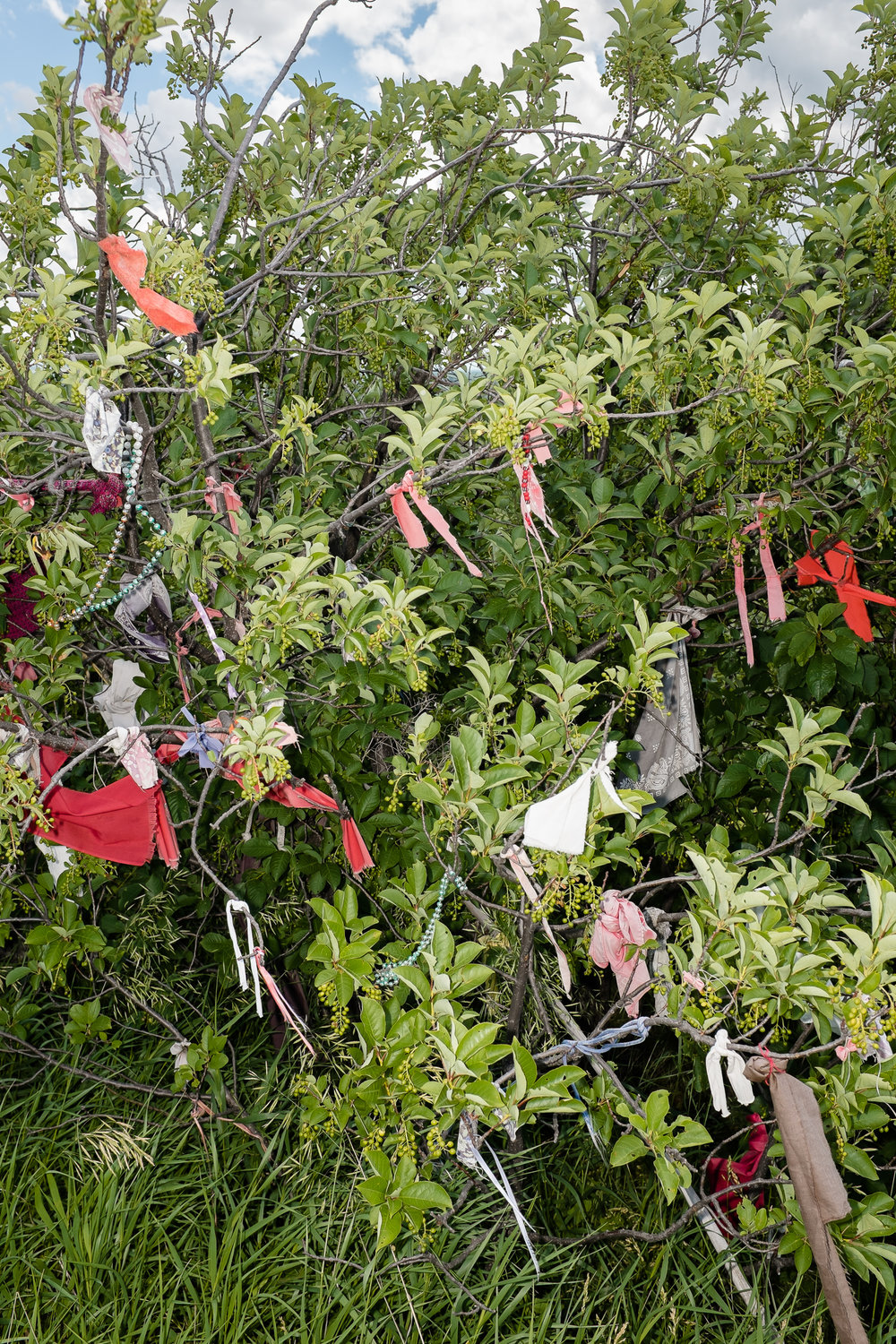 Native American prayer flags in the breeze at Little Big Horn National Battlefield.