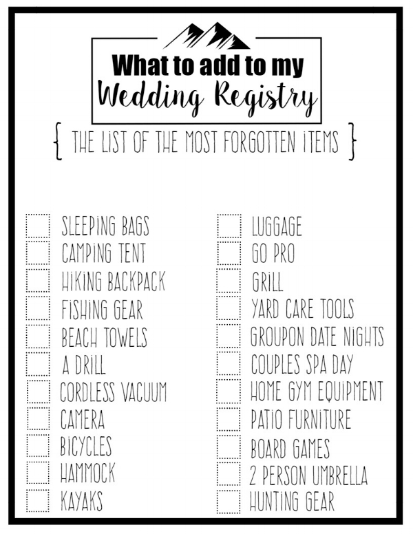 Wedding registry checklist junglespirit Images