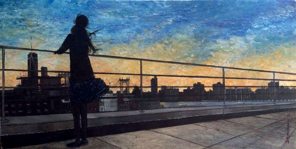 "FREEDOM. Oil on Canvas. 23.5""x12"". 2014.  4th of July.  Brooklyn rooftop.  Despite a fear of heights, Lyla anxiously awaits the sunset so the fireworks can begin."
