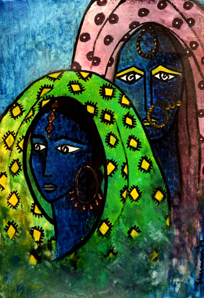"ENIGMA. Oil on Paper. 23.5""x16"". 2014.  Inspired by the women of Thar.  Living in a desert and faced with severe environmental challenges, the way these women wear color, motifs and jewellery is inspiring."