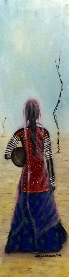 "THE WANDERER. Oil on Canvas. 23.6""x6"". 2014.  A person in search..."