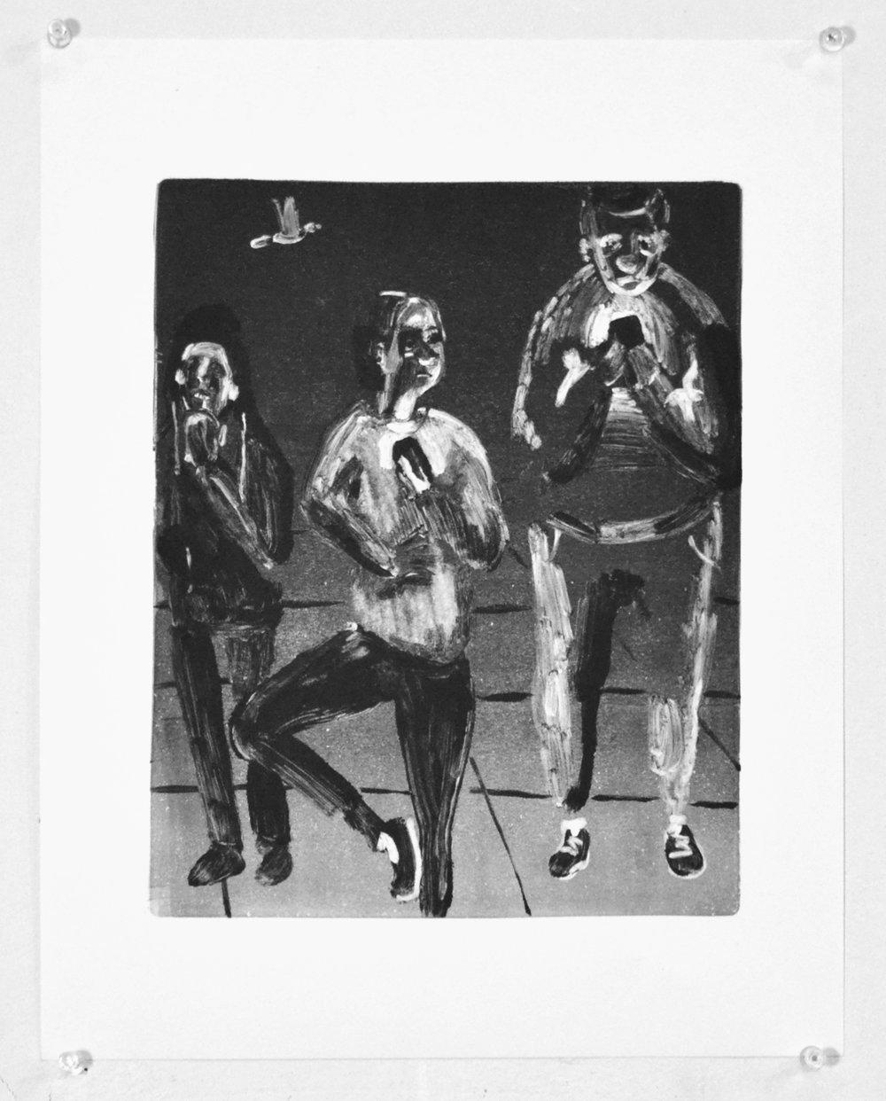 Dancer and Men on Phones