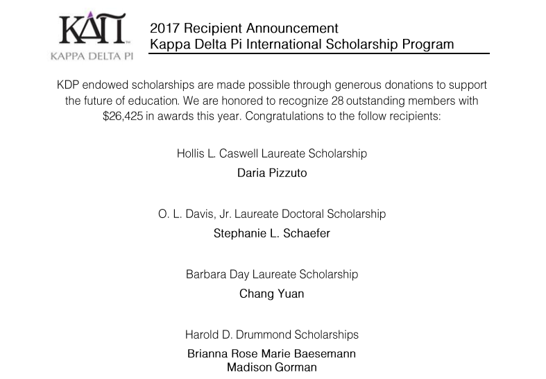 Congratulations to all of the Kappa Delta Pi scholarship recipients!