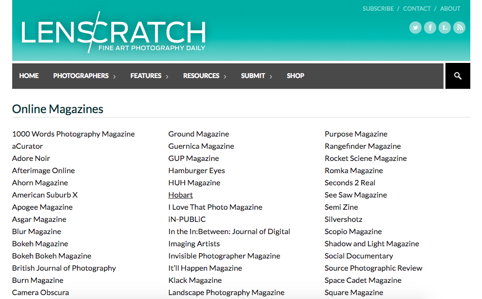 Semi Magazine listed as a magazine resource via Lenscratch.