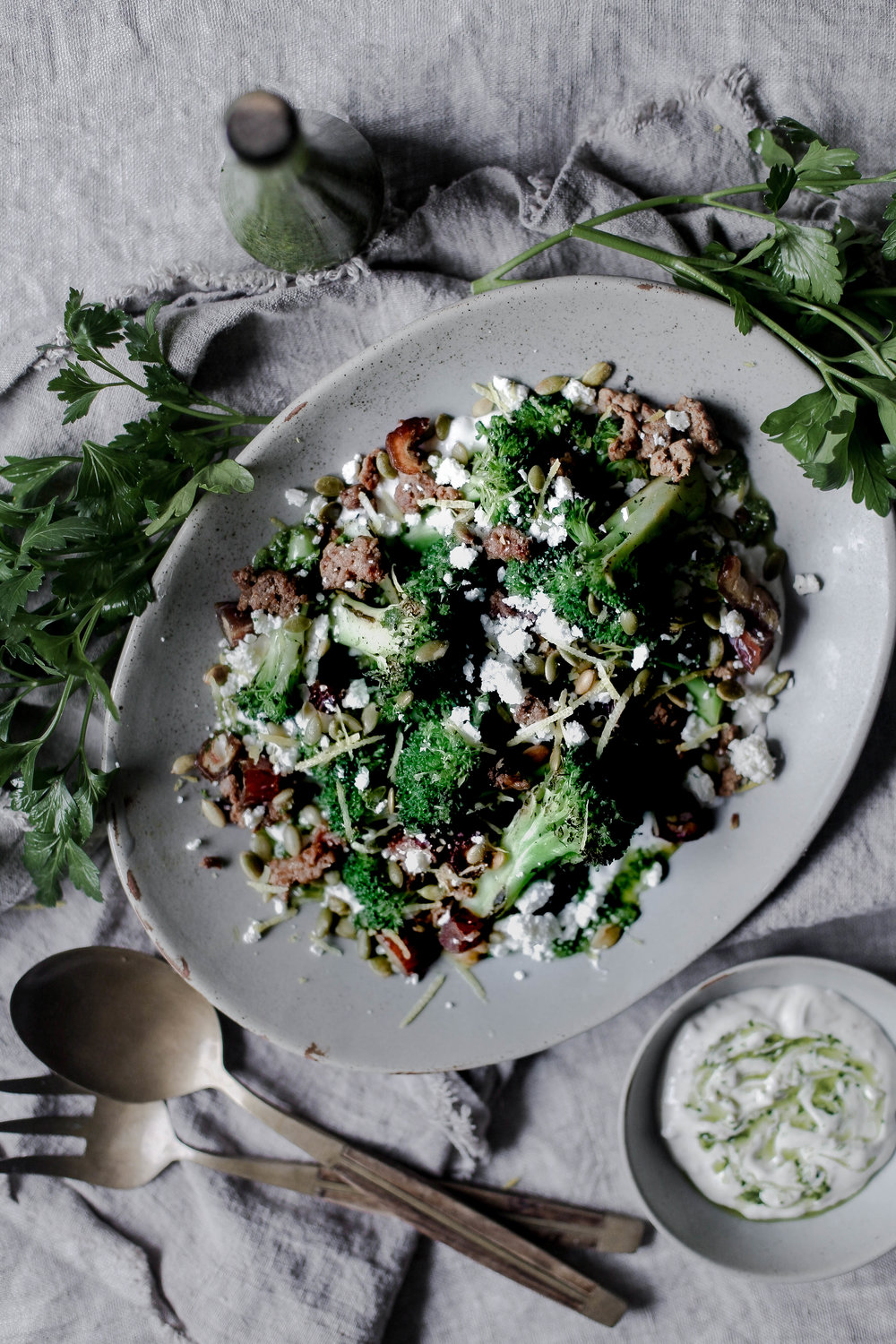 charred broccoli and chorizo with lemon shallot yogurt and jalapeno herb oil (3 of 1).jpg