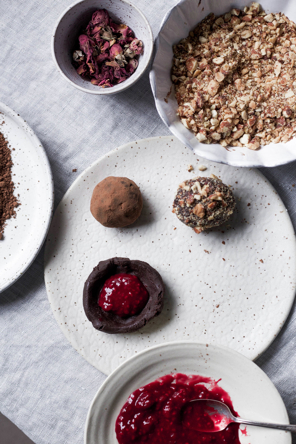 raspberry filled dark chocolate truffles coated three ways (2 of 1).jpg
