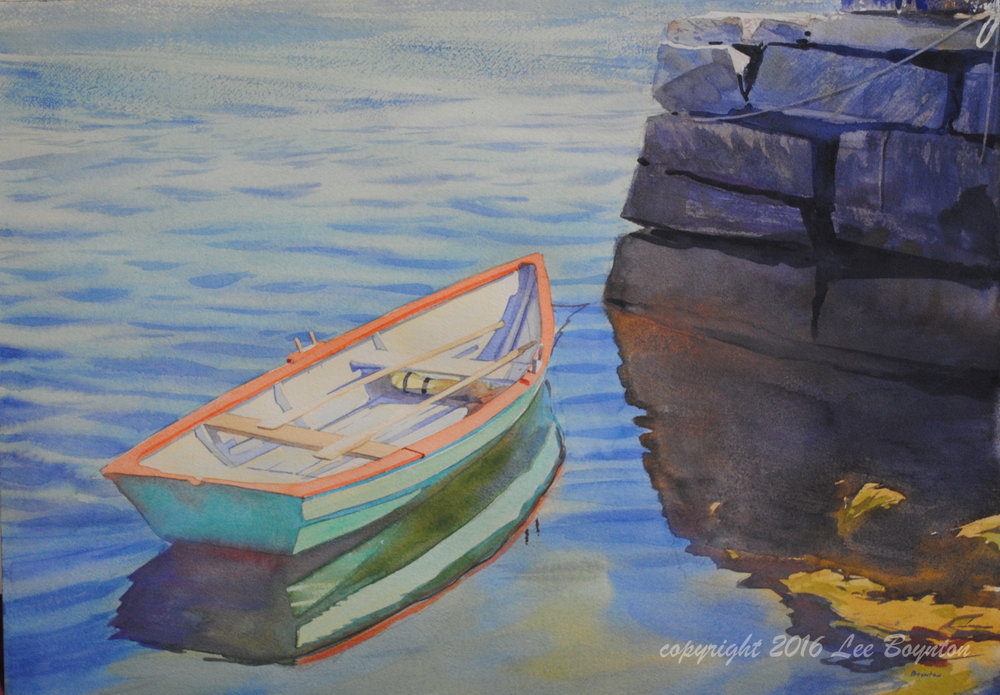 Sold- Green Skiff, Damariscove, ME, 14x20