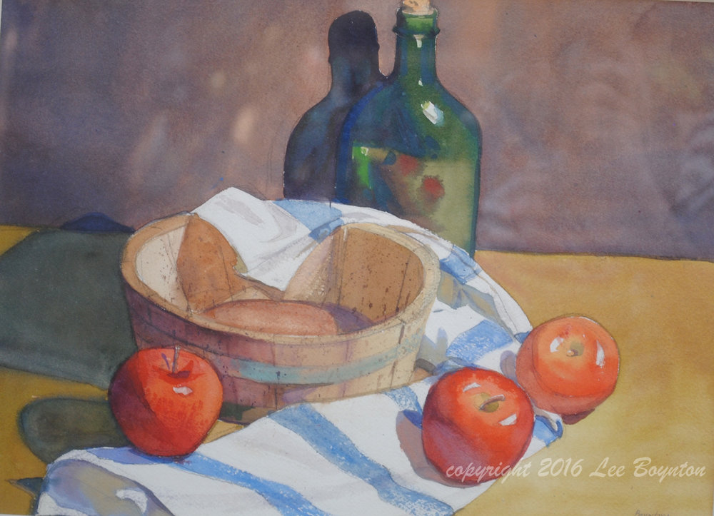 Apples, Blue and White Cloth, 14X20