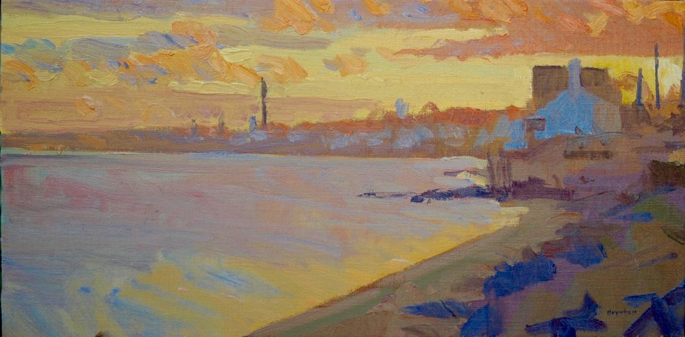 Sunrise over Provincetown,  plein air oil painting by Lee Boynton      James 1: 17-18  (Message translation)    Every desirable and beneficial  gift    comes out of heaven. The    gifts  are rivers of light cascading down from the Father of Light. There is nothing deceitful in God. nothing two-faced, nothing fickle.  He brought us to life using the true Word, showing us off as the crown of all His creatures.