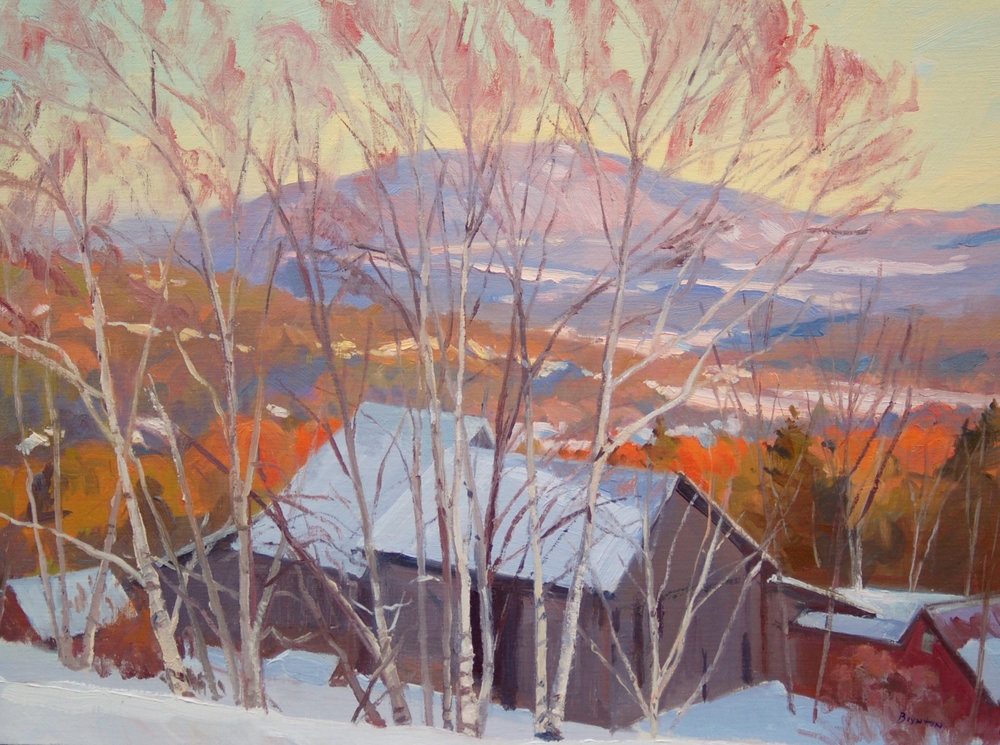 Thanksgiving Snow,  Plein air oil painting by Lee Boynton