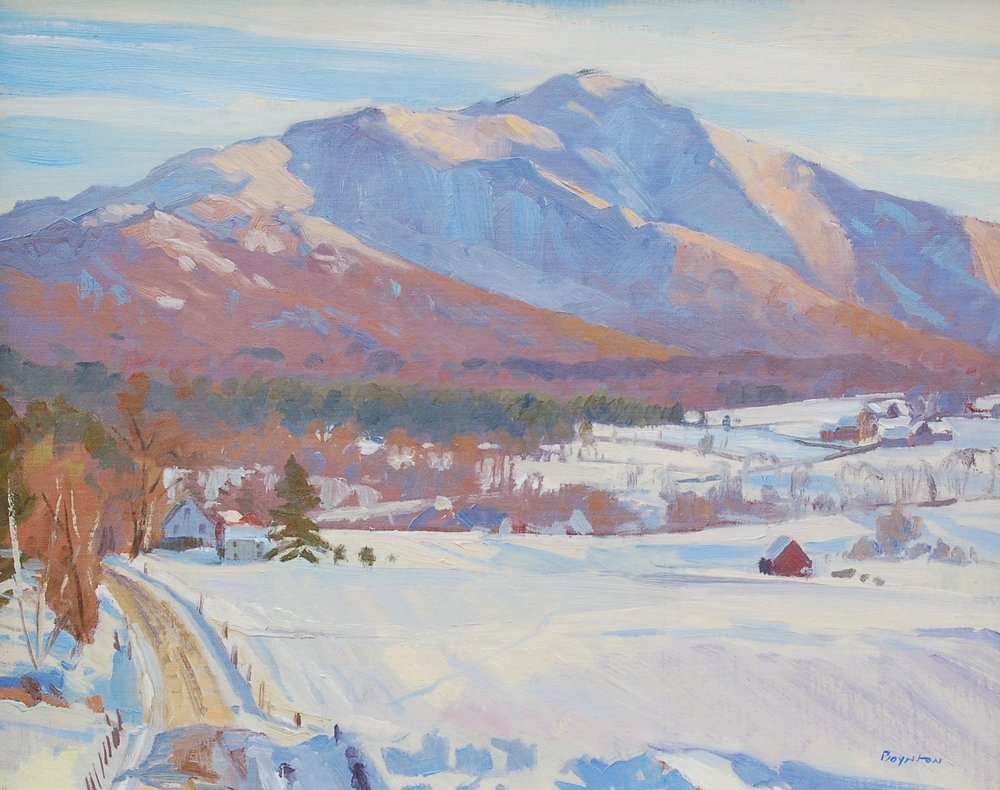 In the Shadow of Mount Mansfield: Pleasant Valley Road, Cambridge, VT                                                       Plein air oil by Lee Boynton